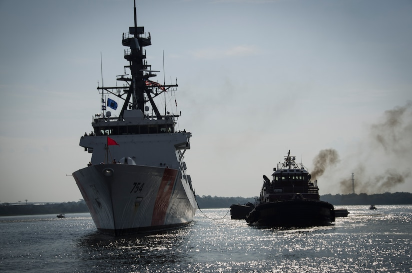 The United States Coast Guard Cutter James, the second National Security Cutter for the East Coast, transits to its homeport in Charleston, S.C., August 28, 2015. The James is the fifth NSC built out of eight planned for the Legend class cutter fleet. The ship's namesake, Capt. Joshua James, a native of Hull, Massachusetts, is credited with saving more than 600 lives during his time with the U.S. Life-Saving Service, which merged with the Revenue Cutter Service in 1915 to create the modern U.S. Coast Guard. The James links today's crew with the renowned lifesavers of the past. (U.S. Air Force photo/Staff Sgt. AJ Hyatt)