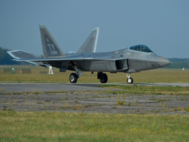A U.S. Air Force F-22 Raptor taxis on the flightline at Lask Air Base, Poland, Aug. 31, 2015. The F-22s have previously deployed to both the Pacific and Southwest Asia for Airmen to train in a realistic environment while testing partner nations' ability to host an advanced aircraft like the F-22.  The F-22s are deployed from the 95th Fighter Squadron at Tyndall Air Force Base, Florida. The U.S. Air Force routinely deploys aircraft and Airmen to Europe for training and exercises. (U.S. Air Force photo by Staff Sgt. Joe W. McFadden)
