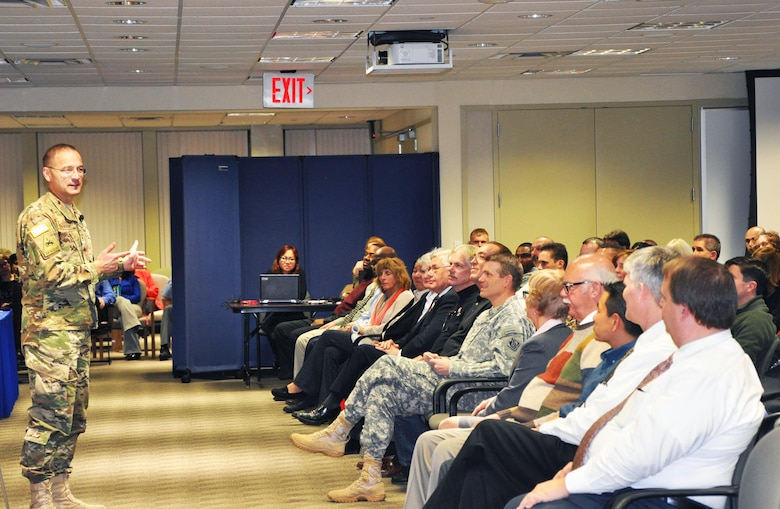 U.S. Army Corps of Engineers North Atlantic Division Commander Brig. Gen. William H. Graham speaks to employees at the New York District receiving the Army Superior Unit Award for meritorious service in restoration efforts after Hurricane Sandy caused widespread damage to New York and New Jersey in fall 2012.