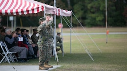 Lt. Col. David Morris (right) and Lt. Col. Lauren Edwards (left) review the battalion during the 8th Engineer Support Battalion change of command ceremony at Camp Lejeune, N.C., Nov. 30, 2015. Edwards took command of the battalion from Morris. Edwards' new responsibility, as the first female commander of an ESB, will be to provide engineer support to II Marine Expeditionary Forces.