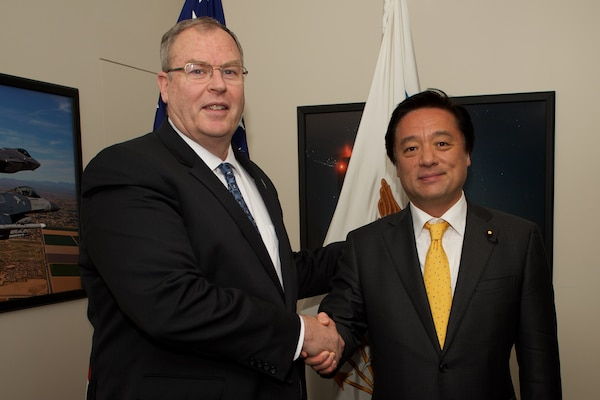 U.S. Deputy Defense Secretary Bob Work and Japanese State Minister of Defense Kenji Wakamiya pose for a photo before a meeting at the Pentagon, Dec. 1, 2015. DoD photo by Casper Manlangit
