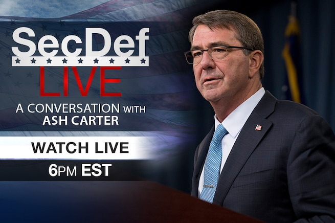 Defense Secretary Ash Carter is scheduled to participate in a moderated discussion at the John F. Kennedy Jr. Forum at Harvard University in Cambridge, Mass. Check back at 6 p.m. EST to watch the event live.