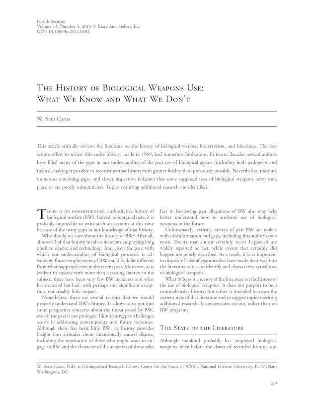 The History of Biological Weapons Use