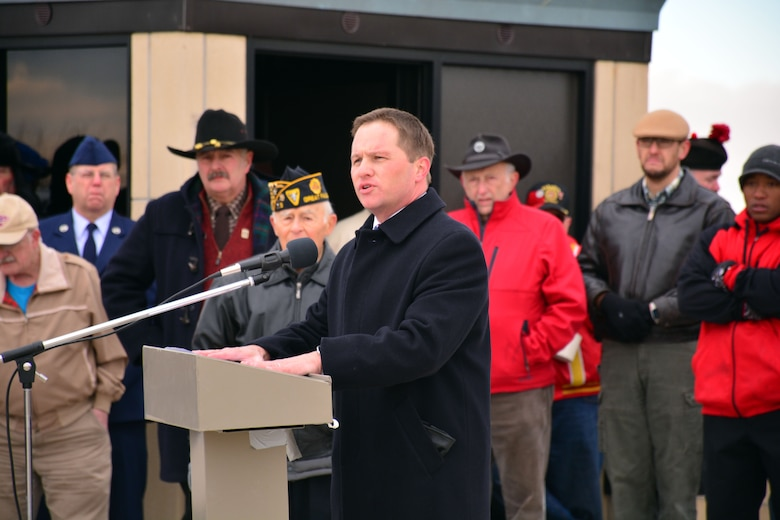 Montana 8th District Court Judge Gregory Pinski speaks to the citizens gathered during the Veterans Day ceremony held at the Montana Veterans Memorial in Great Falls, Mont., Nov. 11, 2015. (U.S. Air National Guard photo by Senior Master Sgt. Eric Peterson/Released)