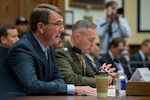 Defense Secretary Ash Carter, foreground, and Marine Corps Gen. Joseph F. Dunford Jr., chairman of the Joint Chiefs of Staff, testify before the House Armed Services Committee about U.S. strategy for Syria and Iraq in Washington, D.C., Dec. 1, 2015. (DoD photo by Air Force Senior Master Sgt. Adrian Cadiz)