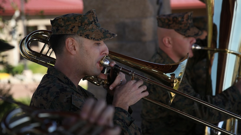 Staff Sgt. Alexander Panos, a trombone player with the 1st Marine Division Band, rehearses alongside his fellow Marines aboard Marine Corps Base Camp Pendleton, Nov. 23, 2015. Panos was recognized as the Marine Corps Musician of the Year Award for 2015.