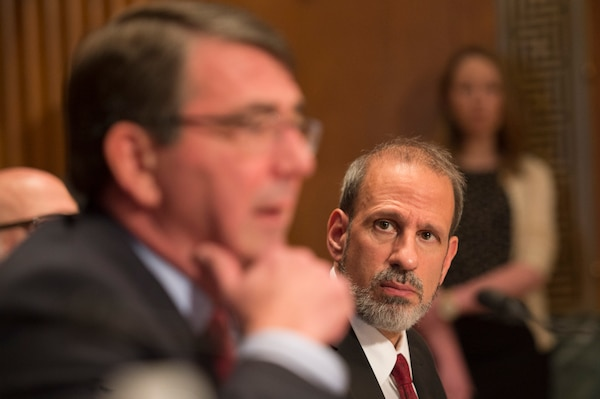 Defense Department Comptroller and Chief Financial Officer Mike McCord listens as Defense Secretary Ash Carter testifies before the Senate Appropriations Defense Subcommittee in Washington, May 6, 2015. McCord said recently that the increase provided by the Bipartisan Budget Act of 2015 gave DoD 98 percent of what it asked for in fiscal year 2016. DoD photo by U.S. Navy Petty Officer 1st Class Daniel Hinton