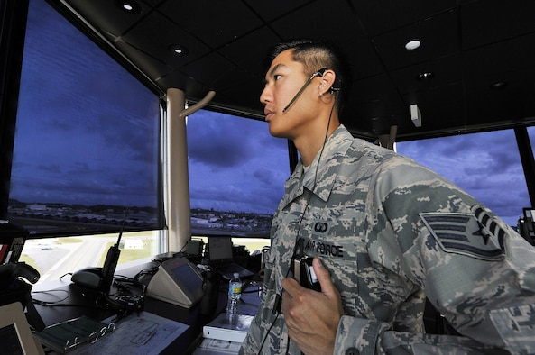 U.S. Air Force Staff Sgt. Jesse Kow, 18th Operations Support Squadron air traffic controller, advises an F-16 Fighting Falcon pilot before takeoff, Nov. 30, 2015, at Kadena Air Base, Japan. Kadena is the largest combat wing in the Pacific with its abundance of air frames and missions. Kadena's air traffic controllers are responsible for providing air traffic control and operations at one of the busiest airfields in the Air Force. (U.S. Air Force photo by Naoto Anazawa/Released)