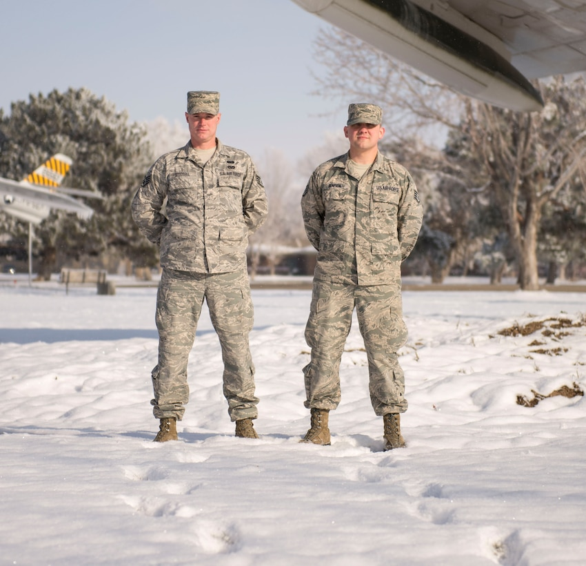 Staff Sgts. John Goodsell and David Jensen, ground radar technicians with the 266th Range Squadron, pose for a photo, Dec. 1, 2015, at Mountain Home Air Force Base, Idaho.  The men's teamwork played a critical role in saving the life of a car crash victim. (U.S. Air Force photo by Airman 1st Class Jessica H. Evans/RELEASED)