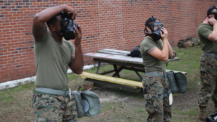 Marines with 2nd Transport Support Battalion test their gas masks and practice clearing the mask during chemical, biological, radioactive and nuclear defense training held at Marine Corps Base Camp Lejeune, N.C., Dec. 1, 2015. Marines applied information obtained in classes about an active chemical threat and the proper protective equipment to decontaminate themselves in a CBRN situation.