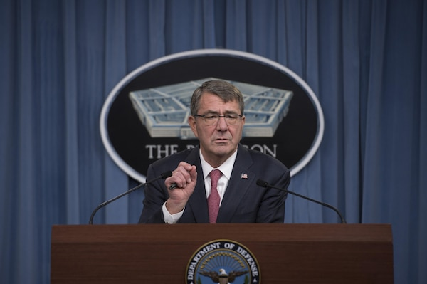 Defense Secretary Ash Carter announces his Women in Service Review during a press brief at the Pentagon, Dec. 3, 2015. DoD photo by Air Force Senior Master Sgt. Adrian Cadiz