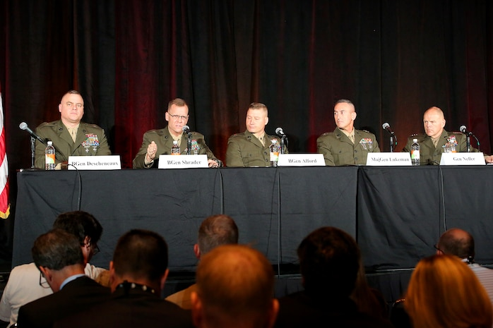 Brig. Gen. Joseph Shrader (second from left), commander of Marine Corps Systems Command, participates in a panel discussion at the Interservice/Industry Training, Simulation and Education Conference Dec. 2 in Orlando, Florida. Other panelists included (from left): Brig. Gen. Raymond Descheneaux, assistant deputy commandant for Aviation; Brig. Gen. Julian Alford, Marine Corps Warfighting Lab commanding general; Maj. Gen. James Lukeman, Training and Education Command commanding general; and Gen. Robert Neller, commandant of the Marine Corps.