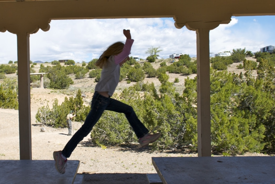 COCHITI LAKE, N.M. -- A child plays at the picnic area, May 1, 2010. Photo by David Abbott.