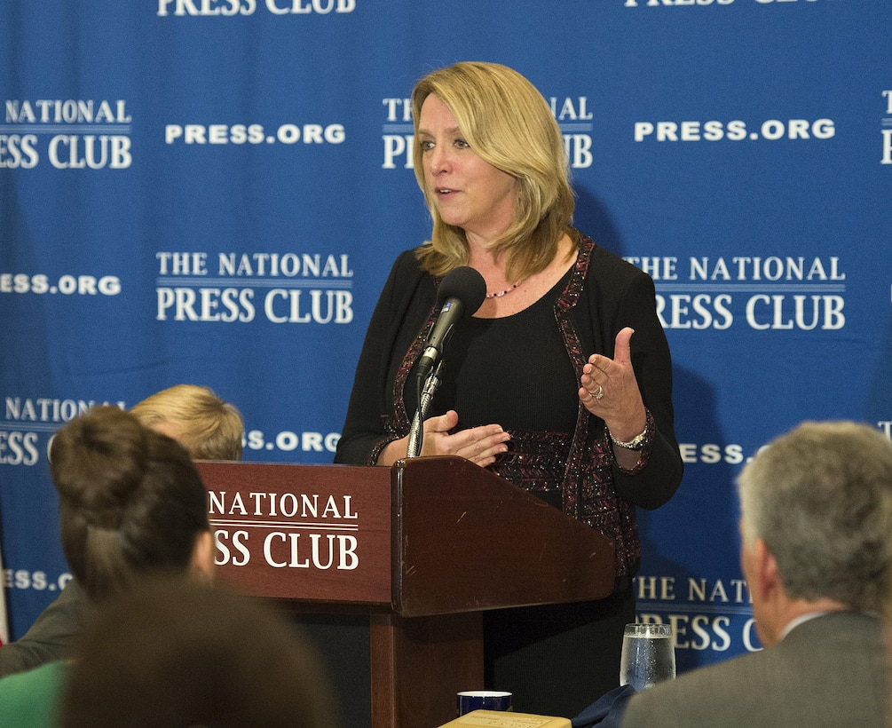 Air Force Secretary Deborah Lee James delivers remarks during a luncheon at the National Press Club in Washington, D.C., Dec. 2, 2015. James discussed her recent trip to the Middle East, Africa and Europe, where she met with military and civilian leaders as well as Airmen currently engaged in the fight against Daesh. (U.S. Air Force photo/Jim Varhegyi)
