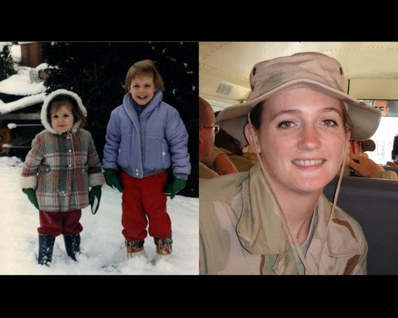 (Left) Tech. Sgt. Lauren Gleason, a public affairs specialist with the 507th Air Refueling Wing Public Affairs office and native Oklahoman, poses for a Christmas snapshot with her sister Amy in 1984. (Right) Gleason waits on a bus before being deployed to Southwest Asia in 2005 during Operation Enduring Freedom. (Courtesy photo)