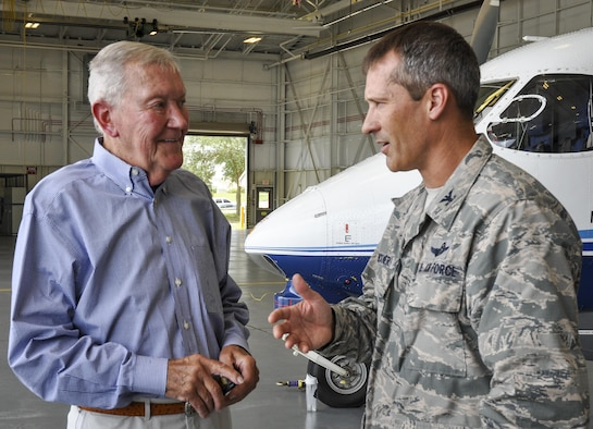 Retired Brig. Gen. Donald E. Haugen receives mission updates from Col. Robert Bruckner, 919th Special Operations Wing vice commander, during his final official visit to Duke Field, Florida, July 7, 2015.  Haugen commanded the 919th Tactical Airlift Group from July 1971 to March 1974 and paved the way for establishment of today's 919th SOW.  (U.S. Air Force photo/Dan Neely)