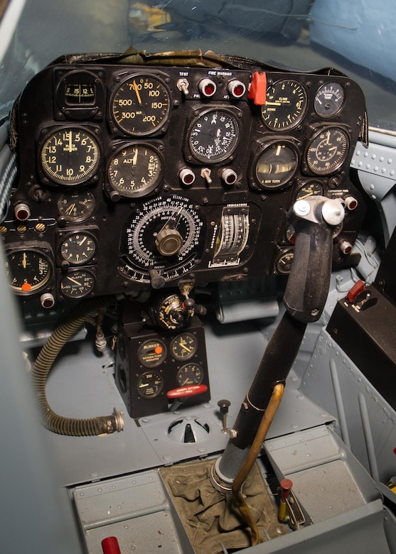 Bell X-5 cockpit in the Research & Development Gallery at the National Museum of the United States Air Force. (U.S. Air Force photo by Ken LaRock)