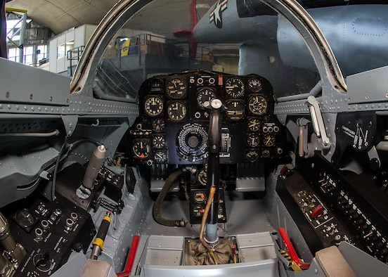 Bell X-5 cockpit at the National Museum of the United States Air Force. (U.S. Air Force photo by Ken LaRock)