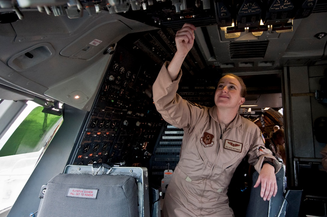 Senior Airman Katie Rettinger, a flight engineer with the 78th Air Refueling Squadron, prepares a KC-10 Extender tanker airplane for a flight Sept. 22, 2015, at Joint Base McGuire-Dix-Lakehurst, N.J. Rettinger is the first Airman to enlist directly into a KC-10 flight engineer position without having prior experience in another military profession. (U.S. Air Force photo by Shawn J. Jones)