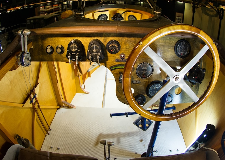 Martin MB-2 cockpit in the Early Years Gallery at the National Museum of the United States Air Force. (U.S. Air Force photo)