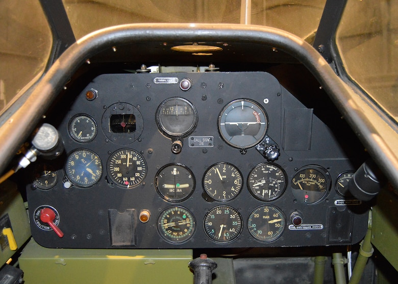 "North American T-6D ""Mosquito"" front cockpit in the Korean War Gallery at the National Museum of the United States Air Force. (U.S. Air Force photo by Ken LaRock)"