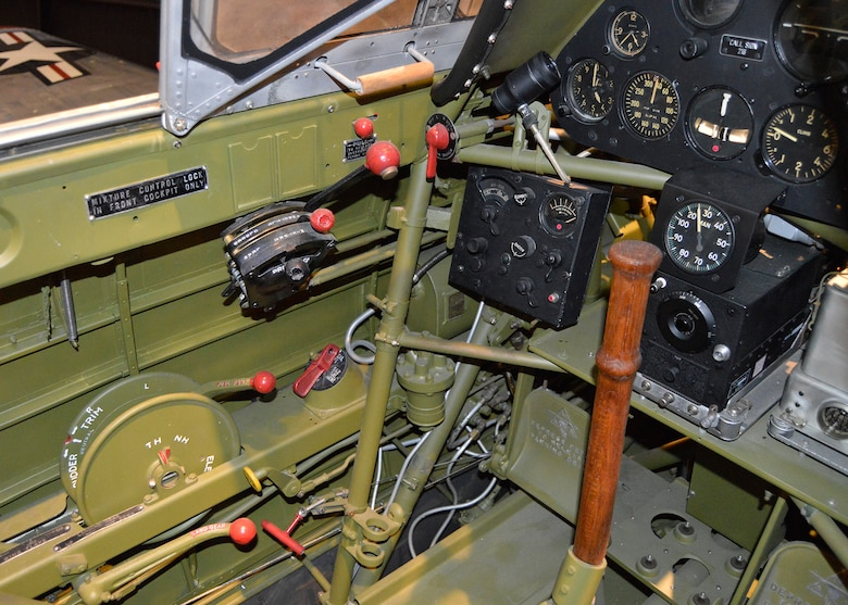 "North American T-6D ""Mosquito"" rear cockpit in the Korean War Gallery at the National Museum of the United States Air Force. (U.S. Air Force photo by Ken LaRock)"