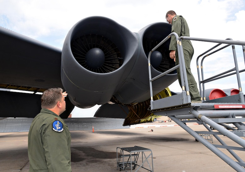 B-52 pilots with the 10th Flight Test Squadron thoroughly check every section of their planes to assure that they are running correctly. (Air Force photo by Kelly White)