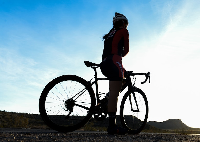 Maj. (Dr.) Shannon Gaffney, a 99th Medical Group staff radiologist, prepares for a bike ride through the Calico Basin in Las Vegas, Nov. 18, 2015. Gaffney participated in the 2015 Military World Games. Much like the Olympics for military members, the competition features 100 countries competing in 26 sports divisions. (U.S. Air Force photo/Airman 1st Class Rachel Loftis)