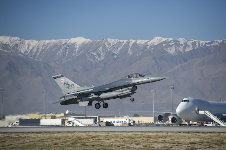 Col. Henry Rogers, the 455th Expeditionary Operations Group commander, takes off on a sortie in an F-16 Fighting Falcon with the 421st Expeditionary Fighter Squadron at Bagram Airfield, Afghanistan, Nov. 27, 2015. Rogers reached the 3,000-flying-hour milestone and 1,000-combat-hour milestone while serving on his eighth combat deployment flying F-16s. (U.S. Air Force photo/Tech. Sgt. Robert Cloys)
