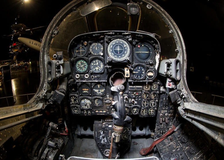 DAYTON, Ohio -- Northrop F-89J front cockpit at the National Museum of the United States Air Force. (U.S. Air Force photo)