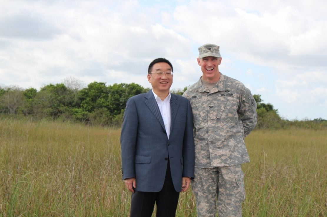 Col. Jason Kirk, Jacksonville District Commander and Chen Lei, Minister of Water Resources for the People's Republic of China, discussed water resource challenges in China and the United States.