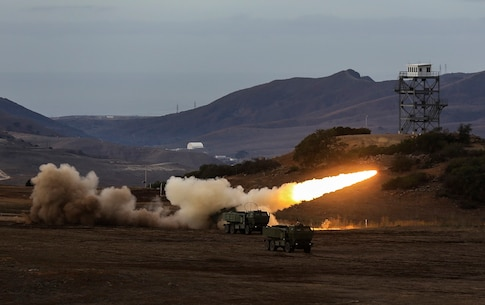 Marines fire a High-Mobility Artillery Rocket System in support of Steel Knight aboard Marine Corps Base Camp Pendleton, Calif., Dec. 4, 2015. Steel Knight is a 1st Marine Division led exercise which enables the Marines and sailors to operate in a realistic combined-arms environment to develop skill sets necessary to operate as a fully capable Marine Air Ground Task Force. The Marines are assigned to Battery Q, 5th Battalion, 11th Marine Regiment, 1st Mar. Div.