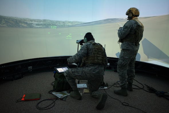 Airmen from the 146th Air Support Operations Squadron, Will Rogers Air National Guard Base, Oklahoma City, along with current and retired service members from Iowa and Florida, remotely demonstrated the use of the Air National Guard Advanced Joint Tactical Air Control Training Simulator for the first time as part of the Distributed Training Operations Center's participation in the Interservice/Industry Training, Simulation and Education Conference in Orlando, Florida, Dec. 1-3, 2015.
