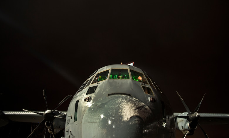A C-130J Super Hercules from the 37th Airlift Squadron is prepped before a training exercise at Ramstein Air Base, Germany, Nov. 25, 2015. Aircrew members spent more than 7 hours to prepare and fly to perform air drop training over U.S. Army Garrison Grafenwoehr, Germany. (U.S. Air Force photo/Staff Sgt. Sara Keller)