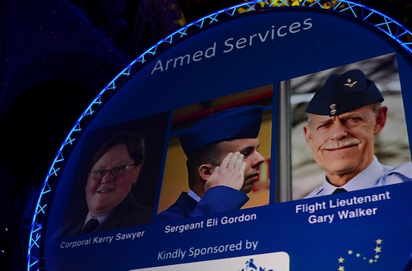 Nominees for the Armed Services Person of the Year award are announced during the Stars of Norfolk and Waveney Awards ceremony at St. Andrews Hall, Norfolk, England, Dec. 3, 2015. Nominees from various categories were recognized for their selfless acts and displays of courage within the local community. (U.S. Air Force photo by Senior Airman Erin Trower)