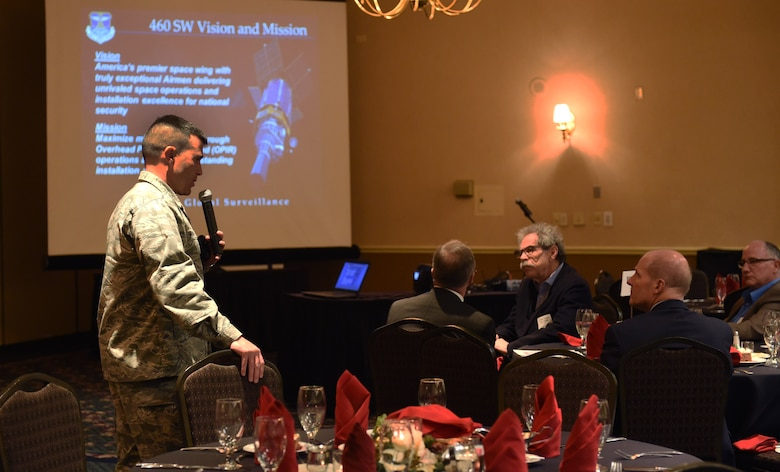 Col. John Wagner, 460th Space Wing commander, spoke to the Adams County Economic Development investor forum Dec. 4, 2015, at the Doubletree Westminster, Westminster, Colo. The forum allowed the wing commander to speak on Buckley Air Force Base's economic impact, as well as its partnership with the surrounding communities. (U.S. Air Force photo by Airman 1st Class Samantha Meadors/Released)
