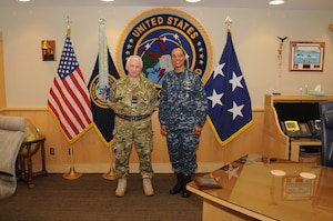 U.S. Navy Adm. Cecil D. Haney (right), U.S. Strategic Command commander, poses for a photo with U.K. Royal Air Force Air Marshal Phil C. Osborn, U.K. Chief of Defence Intelligence, during Osborn's visit to USSTRATCOM Headquarters, Offutt Air Force Base, Neb., Dec. 3, 2015. While here, Osborn participated in a series of discussions with USSTRATCOM senior leaders to gain a better understanding of the command and its missions. Hosting Osborn's visit is one of many of USSTRATCOM's ongoing efforts to build and maintain enduring relationships with partner nations to confront the broad range of global challenges. One of nine DoD unified combatant commands, USSTRATCOM has global strategic missions, assigned through the Unified Command Plan, which include strategic deterrence; space operations; cyberspace operations; joint electronic warfare; missile defense; intelligence, surveillance and reconnaissance; combating weapons of mass destruction; and analysis and targeting. (USSTRATCOM photo by Steve Cunningham)