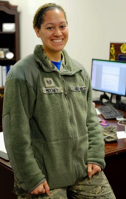 Tech. Sgt. Ashley Mooney, 175th Logistics Readiness Squadron unit training manager, poses for a picture for the Airman Spotlight Dec. 5, 2015 at Warfield Air National Guard Base, Baltimore, Md. Mooney was recognized for her continuing work with the Salvation Army Angel Tree Program since 2012. (U.S. Air National Guard photo by Tech. Sgt. David Speicher/RELEASED)