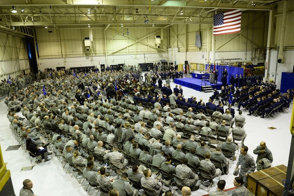 Members of the Maryland Air National Guard, friends and family gather at Warfield Air National Guard Base, Baltimore, Md., for a change of command and the Airman Recognition Ceremony December 6, 2015. During the ceremony Brig. Gen. Randolph Staudenraus assumed command of the 175th Wing from Brig. Gen. Scott L. Kelly. (U.S. Air National Guard photo by Airman 1st Class Enjoli Saunders/RELEASED)