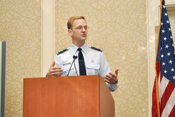 Defense Logistics Agency Energy Commander Air Force Brig. Gen. Mark McLeod addresses the audience during his presentation at the 15th annual Defense Logistics conference in Alexandria, Virginia, Dec. 2.
