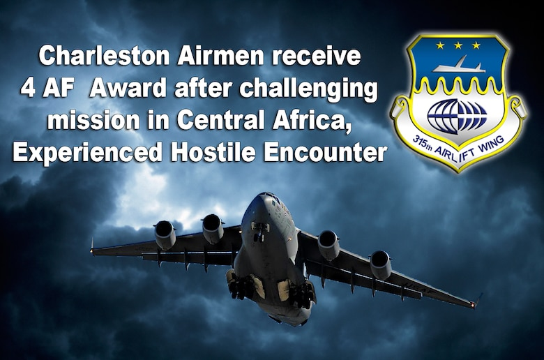 JOINT BASE CHARLESTON, S.C. -- A Team Charleston Aircrew, received the Fourth Air Force Aircrew Excellence Award Nov. 19 here for their efforts while executing an airlift mission to Central African Republic Sept. 25, 2015.  As a part of Operation Echo Casemate, the aircrew of REACH 356 braved poor weather conditions, fuel system malfunctions, extended duty hours and enemy ground fire to deliver French peacekeeping soldiers and mission-critical cargo to Central African Republic. (U.S. Air Force Graphic Illustration by Michael Dukes)