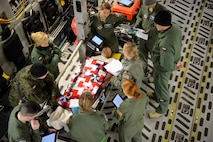 Members from the 86th Aeromedical Evacuation Squadron and Polish aeromedical evacuation specialists discuss the proper treatment of a mock patient Dec. 3, 2015, at Ramstein Air Base, Germany. Members of the 86th AES showcased their skills for the Polish medical officials in order for them to adapt desired skills. (U.S. Air Force photo/Staff Sgt. Armando A. Schwier-Morales)