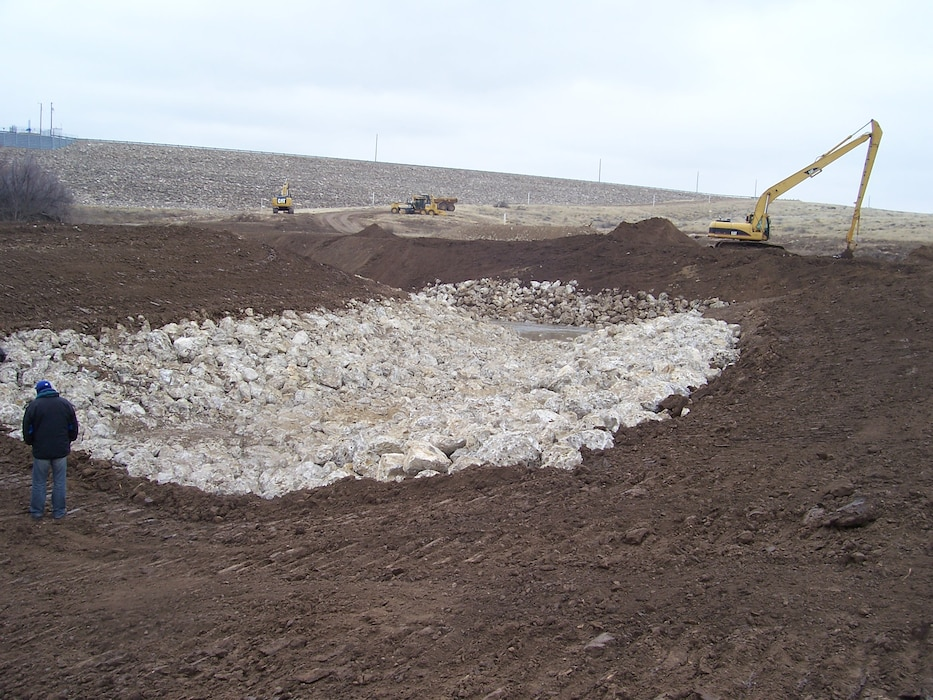 ROSWELL, N.M. – Construction of an erosion channel at the District's Two River's project outside Roswell. Photo by Gary Cordova, March 8, 2015.