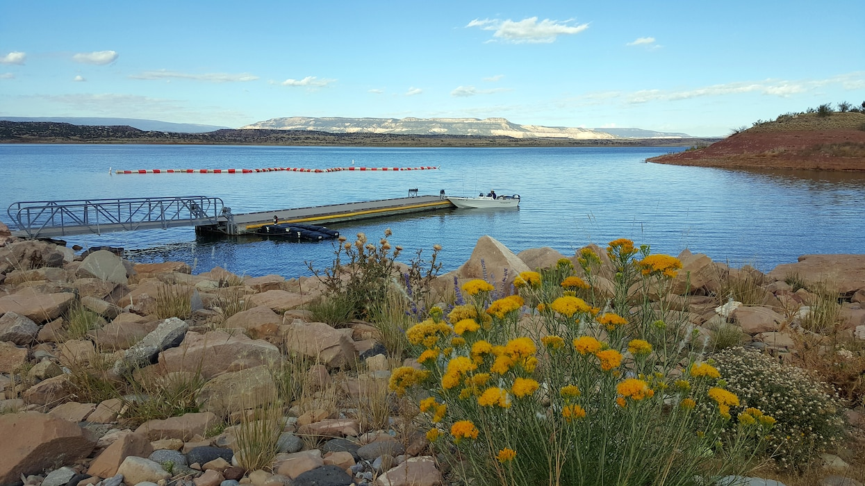 ABIQUIU LAKE, N.M. – Boating at Abiquiu Lake. Photo by Richard Banker, Oct. 1, 2015.