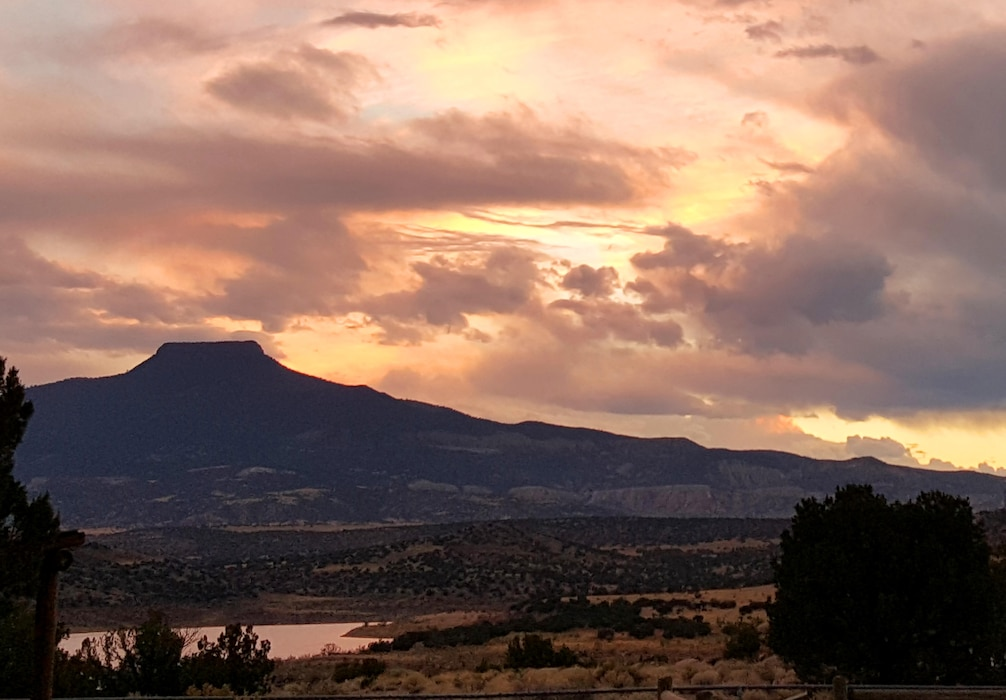 ABIQUIU LAKE, N.M. – View of Cerro Pedernal from the campsite at the lake, Oct. 1, 2015. Photo by Richard Banker.
