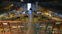 A C-5M Super Galaxy undergoes a Maintenance Steering Group-3 Major inspection Dec. 2, 2015, in the isochronal dock of the 436th Maintenance Squadron at Dover Air Force Base, Del. A Major ISO inspection takes approximately 55 days and more than 100 maintainers can be working on the aircraft at any given time. (U.S. Air Force photo/Senior Airman William Johnson)