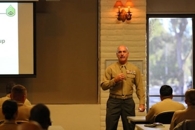 Brig. Gen. David A. Ottignon, the 1st Marine Logistics Group Commanding General, spoke at the Staff Sergeant's Seminar aboard Marine Corps Base Camp Pendleton Friday, Nov. 20. Newly selected and promoted staff sergeants gathered at this seminar to gain insight on expectations of a staff NCO from the senior enlisted and officers' perspective.
