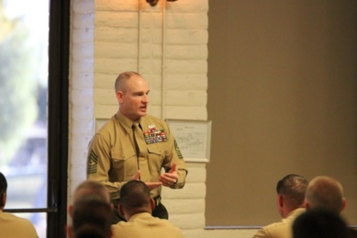 Sgt. Maj. Troy E. Black, the 1st Marine Logistics Group Sergeant Major, spoke at the Staff Sergeant's Seminar aboard Marine Corps Base Camp Pendleton Friday, Nov. 20. Newly selected and promoted staff sergeants gathered at this seminar to gain insight on expectations of a staff NCO from the senior enlisted and officers' perspective.