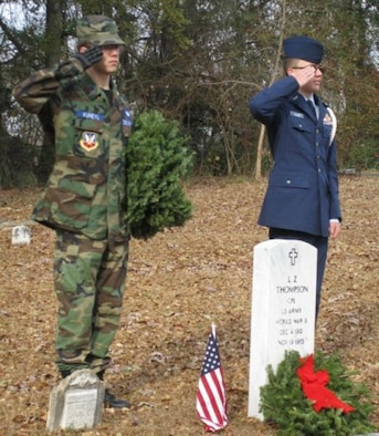 Former  Civil Air Patrol Cadets Jordan Kuneyl (left) and Alex Hanson salute during a Wreaths Across America event. Such events are one of many ways CAP cadets participate in community outreach activities. (Courtesy Photo)