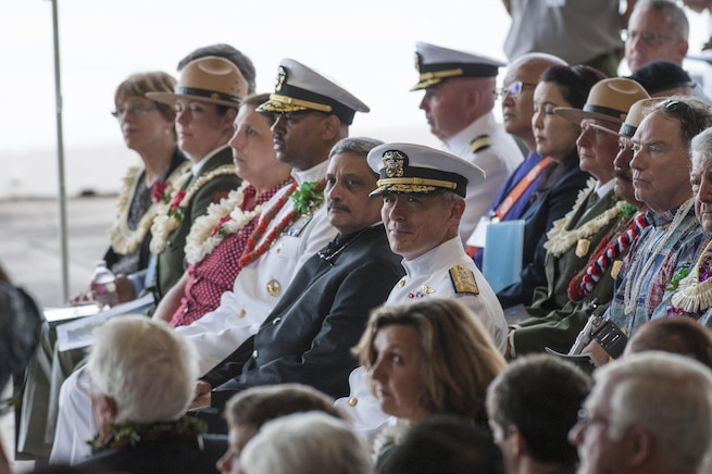 Navy Adm. Harry Harris, center, commander of U.S. Pacific Command, attends the Pearl Harbor Day Commemoration Anniversary at Joint Base Pearl Harbor-Hickam, Hawaii, Dec. 7, 2015. U.S. Air Force photo by Staff Sgt. Christopher Hubenthal